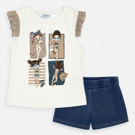 Komplet bluzka i szorty dla dziewczynki Mayoral 3289-70 krem