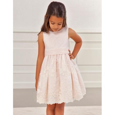 Sukienka wizytowa dla dziewczynki Abel & Lula 5024-37 łosoś