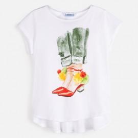 Koszulka z krótkim rękawkiem dziewczyęca Mayoral 6021-84 Biały
