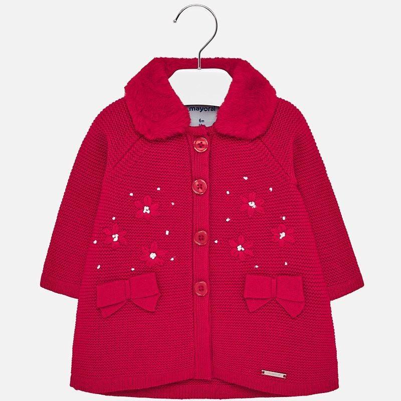 Płaszcz trykotowy dziewczęcy Mayoral 2427-46 czerwony