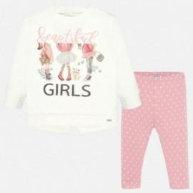 Komplet bluzka i leginsy w groszki dla dzieci Mayoral 2747-80 Różowy