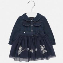 Sukienka jeans z tiulem dla dziewczynki Mayoral 2925-7 Granatowy