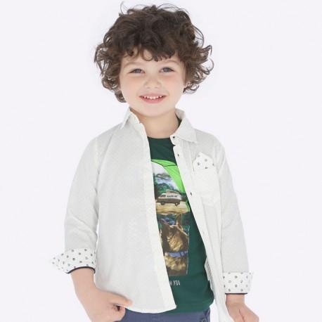 Koszula z długim rękawem w kropki chłopięca Mayoral 4118-57 Biały