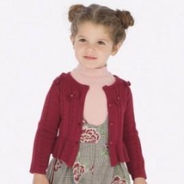 Sweter rozpinany dzianinowy z kokardkami dziewczęcy Mayoral 4306-24 Bordowy