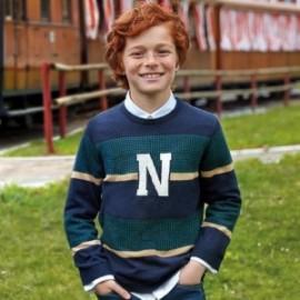 Sweter w paski dla chłopca Mayoral 7309-56 Zielony