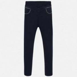 Spodnie jegginsy z dżetami dziewczęce Mayoral 7504-77 Granatowy