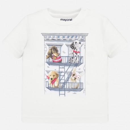 Koszulka bawełniana dla chłopców Mayoral 1044-37 Biały
