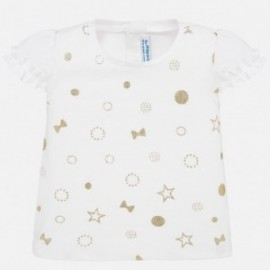 Koszulka z krótkim rękawem dziewczęca Mayoral 1057-56 beż
