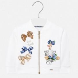 Bluza z dzianiny na stójce dziewczynka Mayoral 1472-52 biały