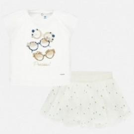 Komplet ze spódniczką tiulową dla dziewczynek Mayoral 1951-1 Biały