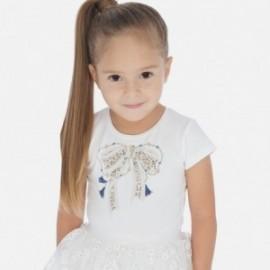 Koszulka z aplikacją dla dziewczynek Mayoral 3007-26 kremowy
