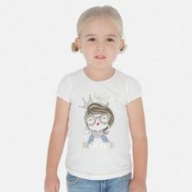 Koszulka bawełniana dla dziewczynki Mayoral 3008-46 Kremowy