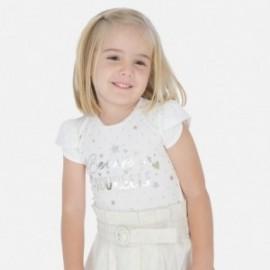 Koszulka bawełniana dla dziewczynek Mayoral 3009-36 Kremowy