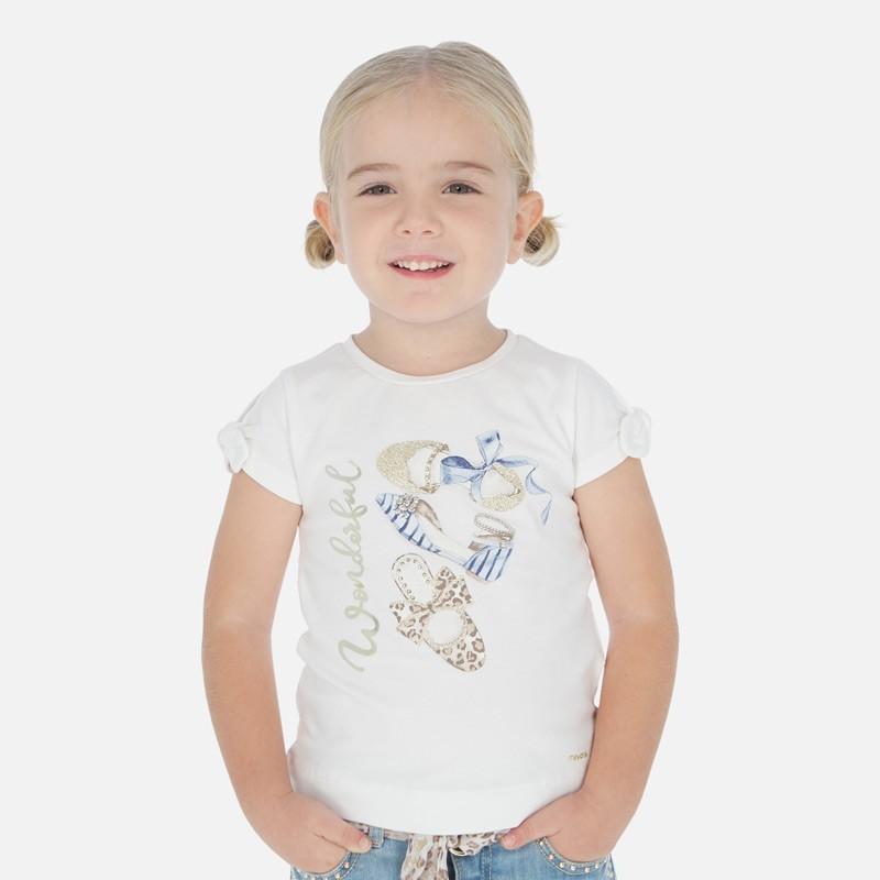 Koszulka bawełniana dla dziewczynek Mayoral 3010-69 Krem