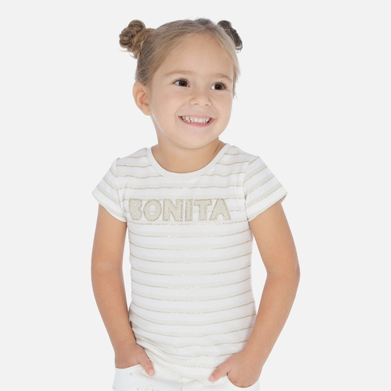 Koszulka bawełniana w paski dla dziewczynek Mayoral 3011-84 beż
