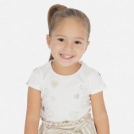 Koszulka z krótkim rękawem dziewczęca Mayoral 3012-63 Kremowy