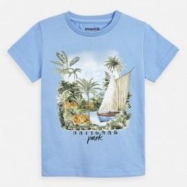 Koszulka bawełniana z nadrukiem dla chłopców Mayoral 3050-95 niebieski