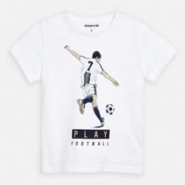 Koszulka bawełniana dla chłopca Mayoral 3055-31 biały
