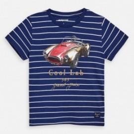 Koszulka bawełniana w paski dla chłopców Mayoral 3064-65 granat