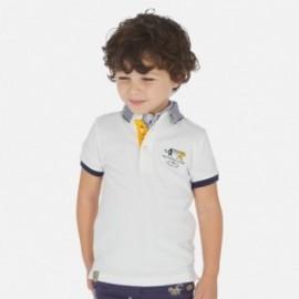 Koszulka polo z nadrukiem chłopięca Mayoral 3155-48 Biały