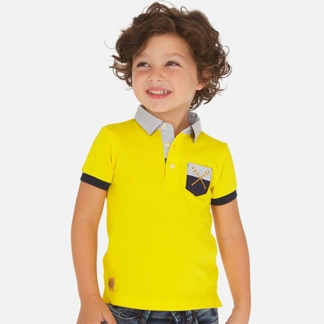 Koszulka polo z nadrukiem chłopięca Mayoral 3156-76 Żółty