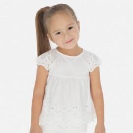 Bluzka luźna z haftem dla dziewczynki Mayoral 3181-80 Kremowy