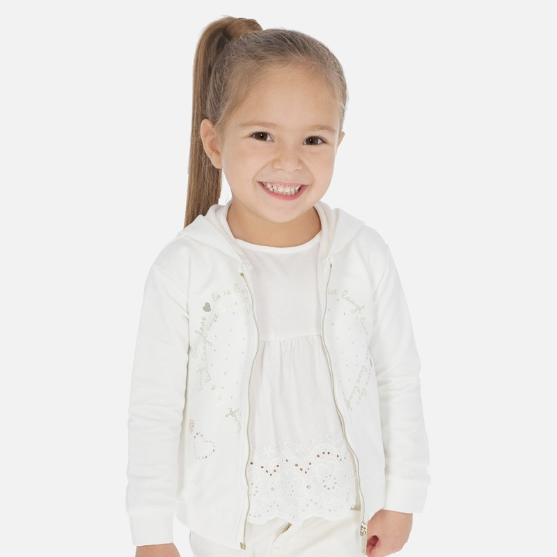 Bluza z kapturem dziewczęca Mayoral 3469-32 Kremowy