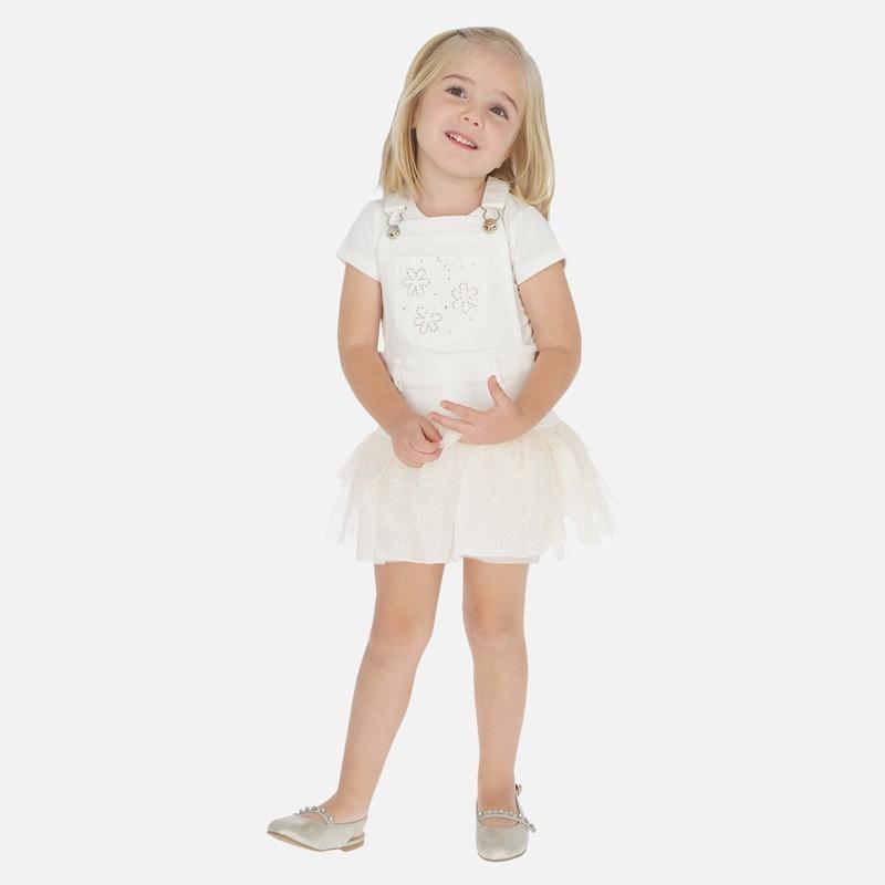 Spódnica na szelkach dziewczęca Mayoral 3908-6 Kremowy