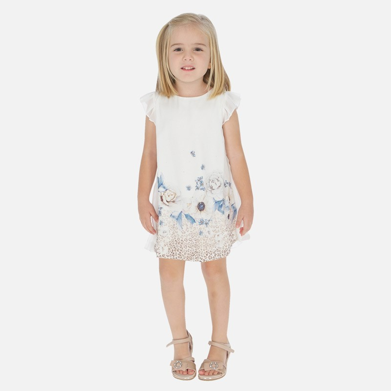 Sukienka satynowa dla dziewczynki Mayoral 3912-69 Beżowy