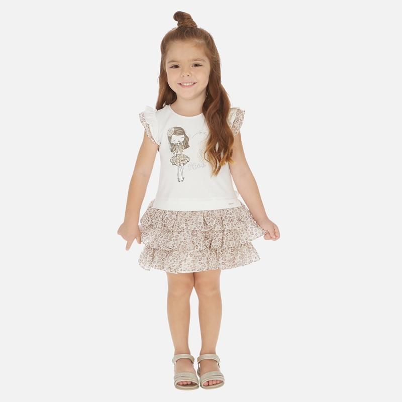 Sukienka łączona dziewczęca Mayoral 3945-89 Beżowy