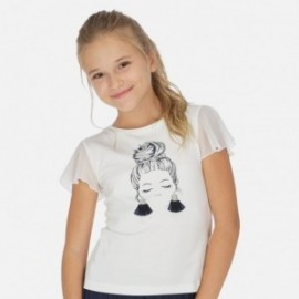 Koszulka z krótkim rękawem dziewczęca Mayoral 6004-47 Kremowy