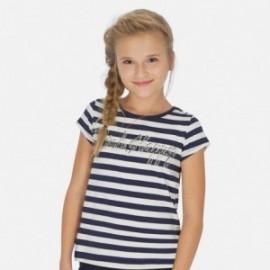 Koszulka w paski dziewczęca Mayoral 6005-34 Granatowy