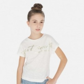 Koszulka z krótkim rękawem dziewczęca Mayoral 6010-3 Kremowy