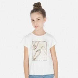 Koszulka z krótkim rękawem dziewczęca Mayoral 6011-32 Kremowy