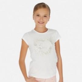 Koszulka z krótkim rękawem dziewczęca Mayoral 6017-65 Kremowy