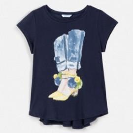 Koszulka z asymetrycznym dołem dziewczęca Mayoral 6021-85 Granatowy
