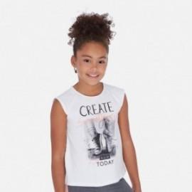 Koszulka z krótkim rękawem dziewczęca Mayoral 6024-86 Biały