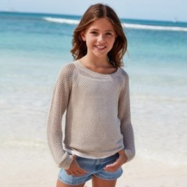 Sweter dziurkowany dla dziewczyny Mayoral 6312-23 Beżowy