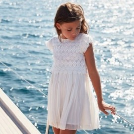 Sukienka z gipiury dla dziewczyny Mayoral 6966-38 Kremowy