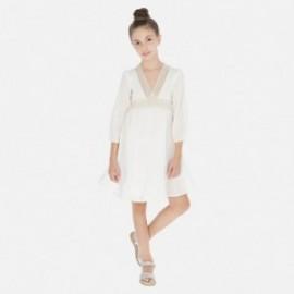 Sukienka z długim rękawem dla dziewczyny Mayoral 6971-3 Kremowy