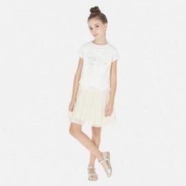 Sukienka łączona dziewczęca Mayoral 6986-50 Kremowy