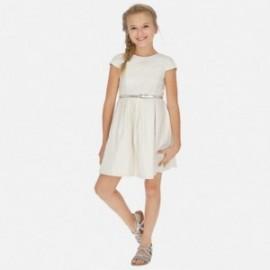 Sukienka lniana z paskiem dziewczęca Mayoral 6963-2 Złoty