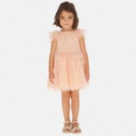 Sukienka tiulowa w kwiatuszki dziewczęca Mayoral 3916-82 Brzoskwiniowy