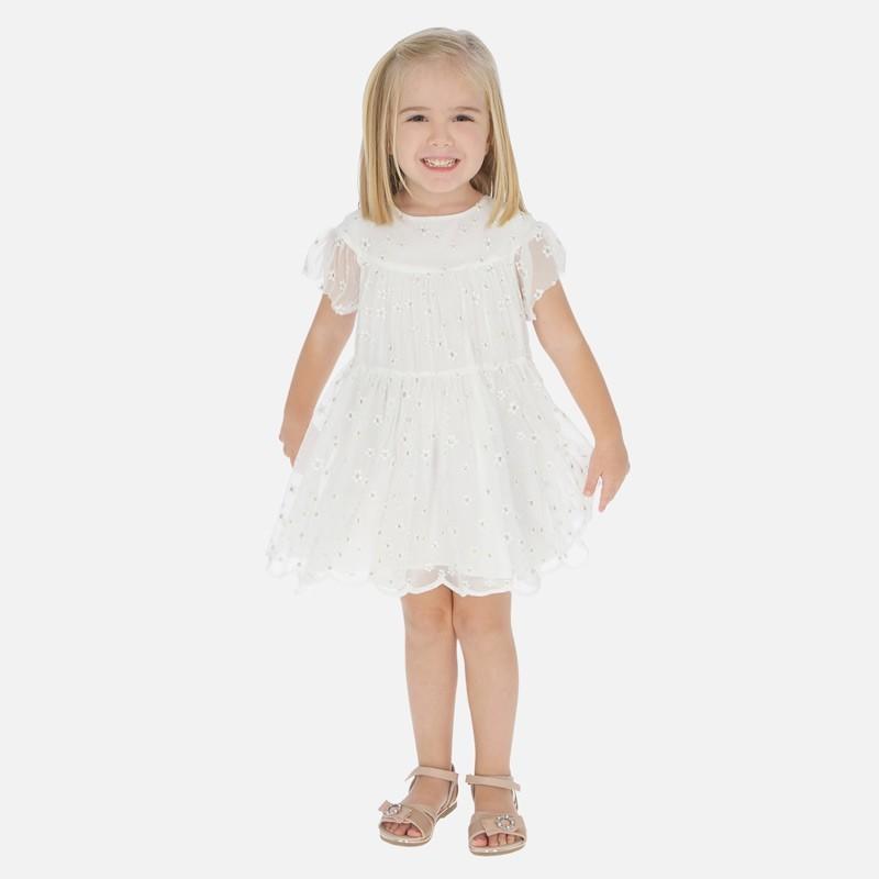 Sukienka tiul z haftem dziewczęca Mayoral 3943-15 Kremowy