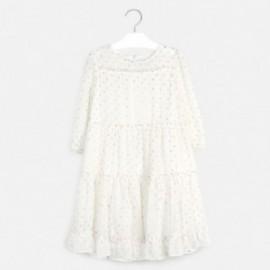 Sukienka w groszki dziewczęca Mayoral 6968-11 Kremowy