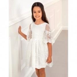 Sukienka tiulowa z haftem kwiaty dziewczynka Abel & Lula 5017-1 biała