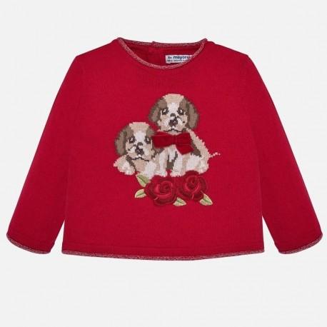 Sweter z haftem dla dziewczynki Mayoral 2312-67 Czerwony
