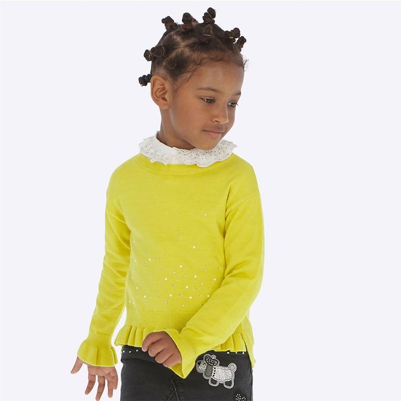 Sweter z falbanką dziewczęcy Mayoral 4303-16 żółty