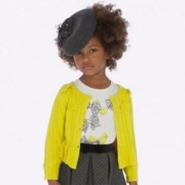 Sweter dzianinowy dla dziewczynki Mayoral 4306-23 żółty