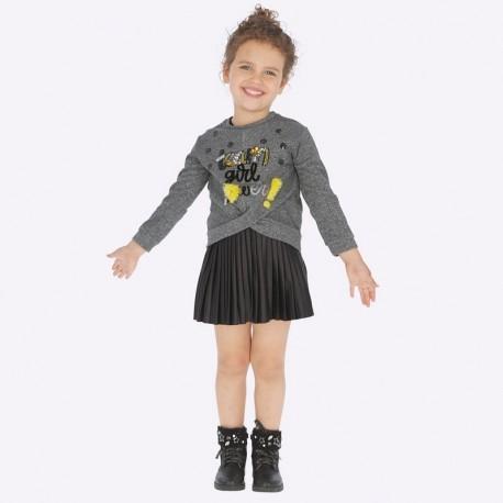 Sukienka łączona plisowana dla dziewczynki Mayoral 4941-76 Czarny